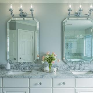 Mirrors in master bathroom