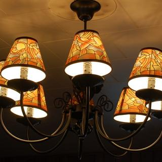 With 8 light black chandelier