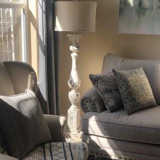Anderson Distressed Rustic White Column Farmhouse Floor Lamp. 2 of 2