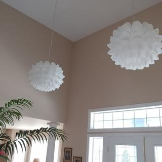 These are hanging from an 18ft ceiling, love them!