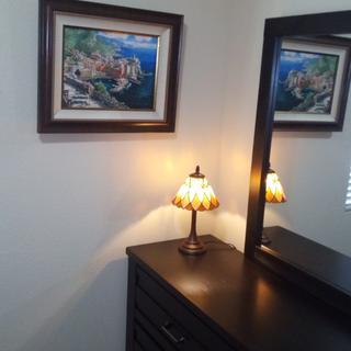 my lovely Tiffany lamp, snug in its corner