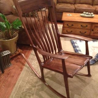 Maloof-style rocker with 4 coats Poly/Oil finish and 2 coats Oil/Wax finish.