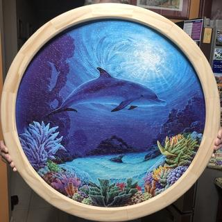 """24"""" Puzzle framed using the Rockler circle jig."""