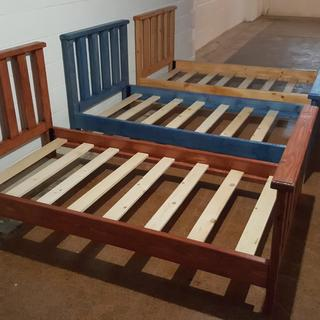 Three of the beds for a customer. Used the bed rail brackets for first time. Made easy to setup .