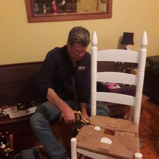 Installing fiber rush to a ladder back chair!