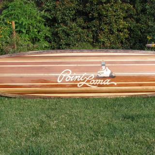 hollow wood surfboard with marquetry