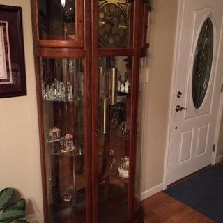 Our grandfather clock with glass shelves