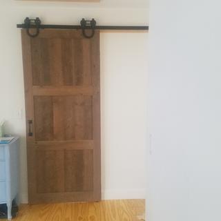Door made 90 year old reclaimed floor joists