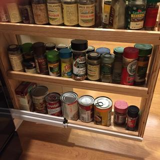 Spice drawer with under mount slides