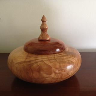 Lidded box maple with exotic lid, finished with Midlands friction polish