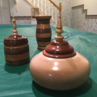 Lidded box, maple base with mahogany top,vase, And box all finished with midlands friction polish