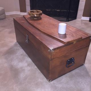 60+ year old millright tool chest restored as a coffee table. Was my grandfather's daily work chest.