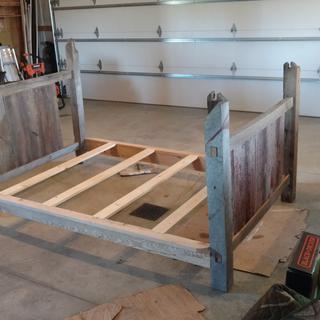 Rustic barnwood bed