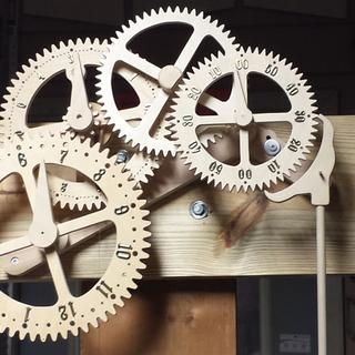 Working, baltic birch, geared, clock