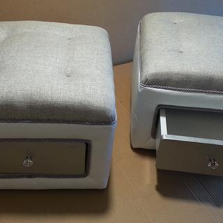 Twin Ottomans, refurbish from solid no drawer ottomans. Now to a split fabric style look. HYL