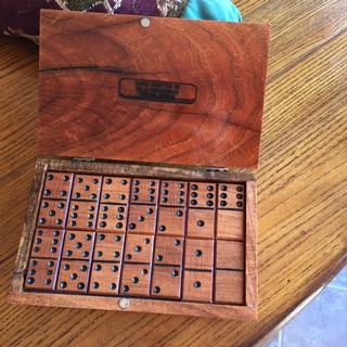 Handcrafted Mesquite dominoes and box