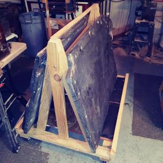 "Cart built to hold 3 pieces of 1.5"" slate at about 280lbs. each!"