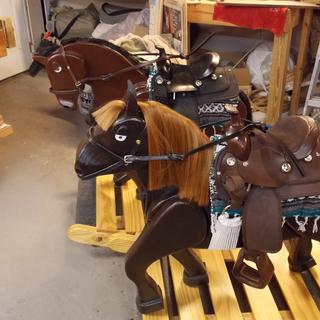 The pair of rocking horses I made for our twin Grand babies.