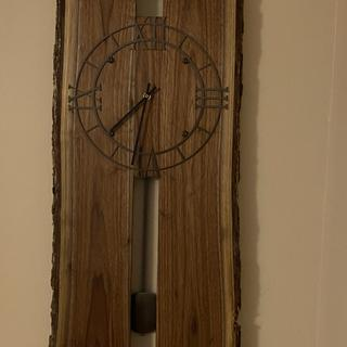 "Pendulum clock with 18"" down rod, spray painted with Hammered Bronze for color and texture."