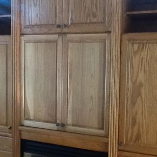 New cabinet doors for old tv place in an entertainment center.