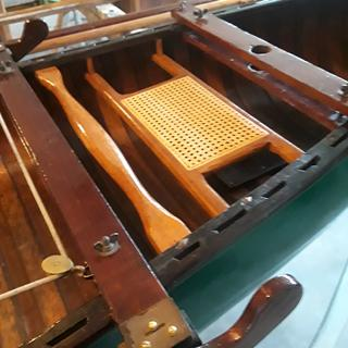 """Forward seat in a 1947 """"Old Town"""" sailing canoe"""