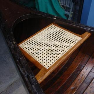 """Stern seat in a 1947 """"Old Town"""" sailing canoe"""