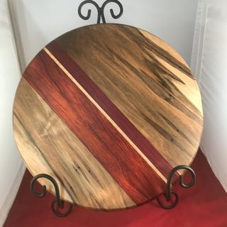 "12"" x 7/8"" cheese board with ambrosia maple, Paduck, Purple Heart, maple"