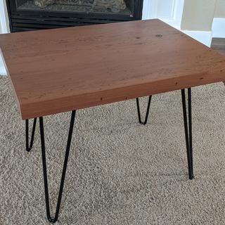 The hairpin legs complimented the redwood top perfectly!