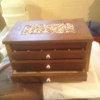 Three drawer walnut jewelry box.
