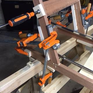 Blokkz in use for an angled tapered leg joined with mortise and tennon.