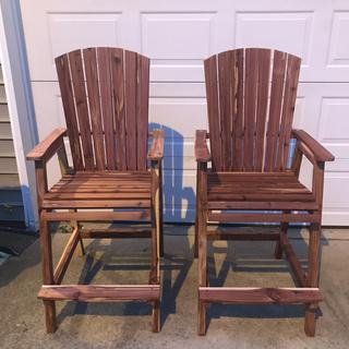 Cedar bar height Adirondack chairs