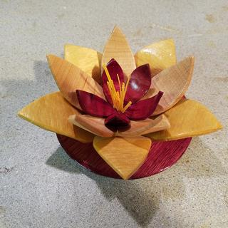 Purple heart, yellow heart, and maple blossom for a jewelry box.