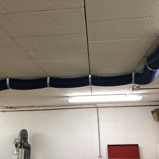 4 inch anti-static dust collection hose on ceiling to extend system further across shop