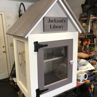 A sign for the Little Library I built for my grandson.