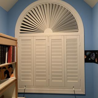 "Slats used for rectangular and semicircular shutters. The semicircle is 53-1/2"" in diameter."
