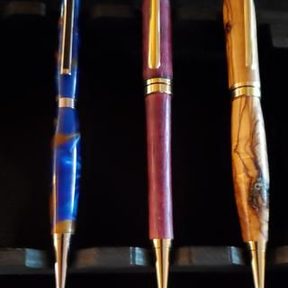 Just a few of the pens I have turned, the scroll chuck makes it much easier to drill the pens