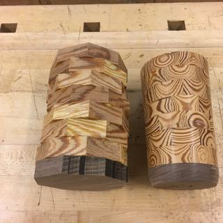 One glued, one rough turned
