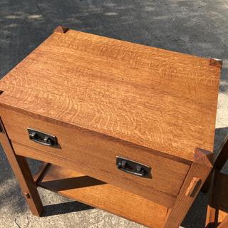 Quarter sawn white oak nightstand based on Stickley design.