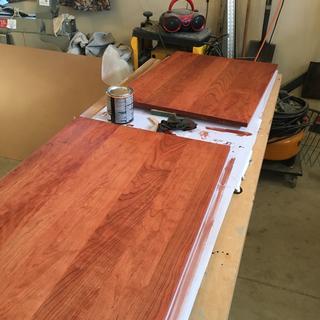 Sanded glued up cherry wood