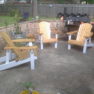 First three chairs. Just received templates for the bench. Also plan to built matching foot rests