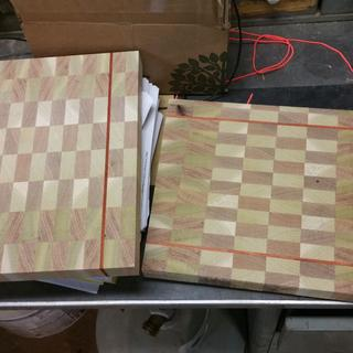 End grain cutting boards with padauk accent.