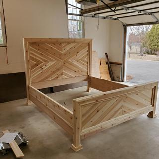Left side king bed frame, all cedar.