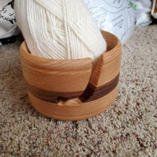 Yarn bowl with red oak and walnut for my wife