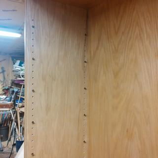 All the holes drilled and the sleeves in place for 11 adjustable shelves in a 6ft tall shoe cabinet.