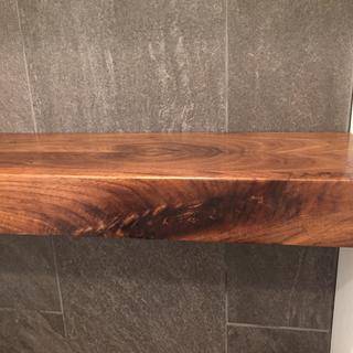 Shelf...brings out the character of the walnut really well. Also doesn't yellow over time.