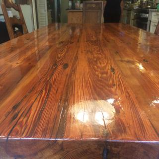 Heartwood pine table - wood conditioner, stain, shellac and 4 coats of poly