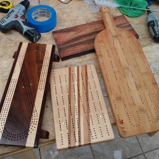 Other boards using the jig. Left board I bought , can't take credit for that beautiful board.
