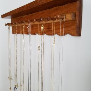 Used the maple axles to hang necklace chains.