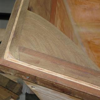Ipe corner blocks shaped with rasp.