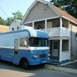 originally a book mobile - changing to a retirement mobile home.